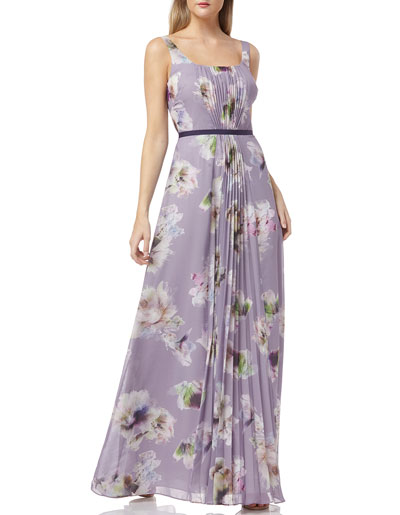 Floral-Print Scoop-Neck Sleeveless Chiffon Dress w/ Front Pleating