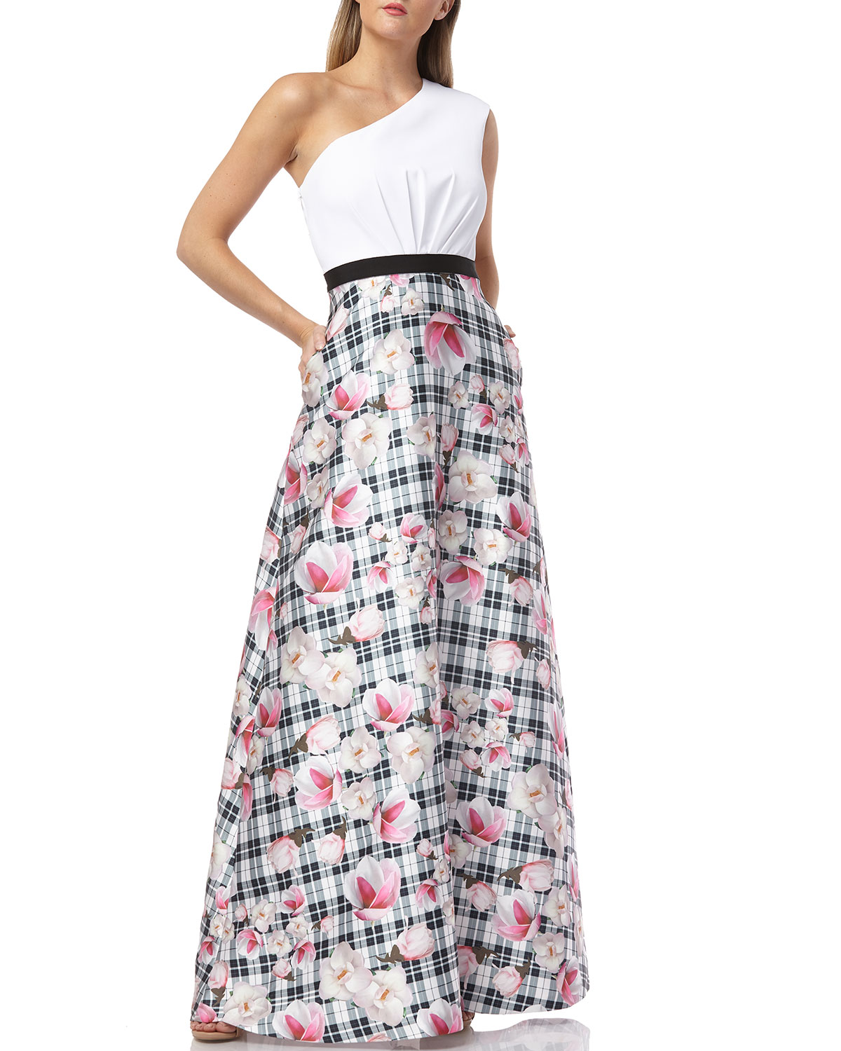Kay Unger Skirts ONE-SHOULDER GOWN WITH PRINTED MIKADO SKIRT AND GATHERED WAIST