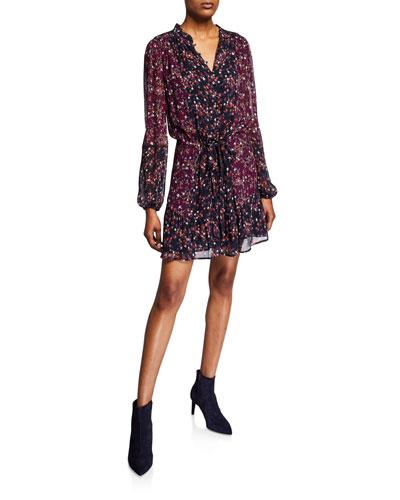 Sonoma Floral Button-Front Silk Dress
