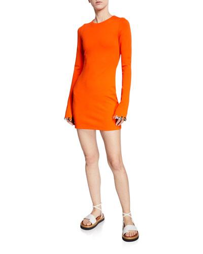Embellished Long-Sleeve Jersey Mini Dress
