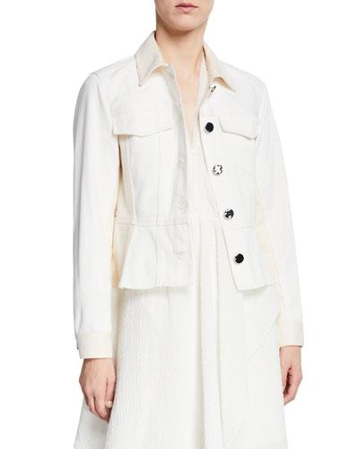 Button-Front Denim Peplum Jacket