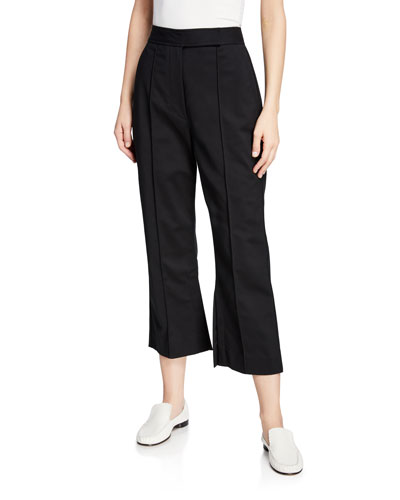 Cropped Side-Slit Tailored Pants