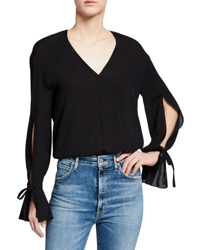Silk Tie-Sleeve V-Neck Blouse