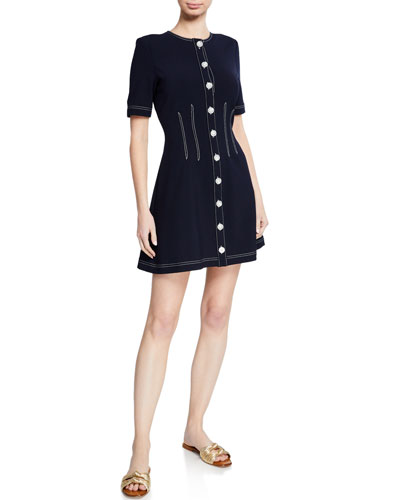 Mikel Short-Sleeve Button-Front Short Dress