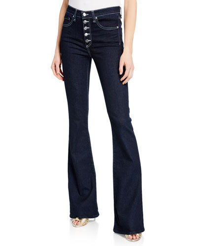 Beverly High-Rise Skinny Flare Jeans with Button Fly