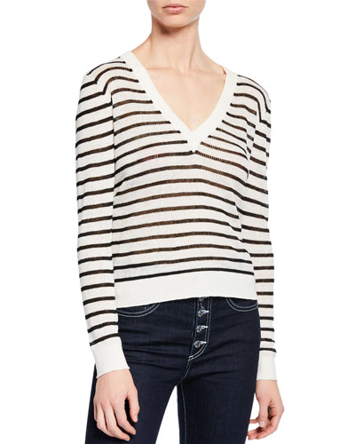 Dean Striped Linen V-Neck Sweater