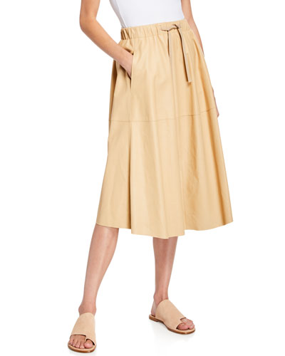 Pull-On Leather A-Line Skirt