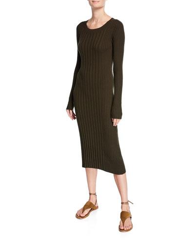 Mixed Rib Scoop-Neck Long-Sleeve Dress