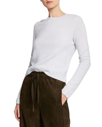 Seamed Cashmere Crewneck Sweater