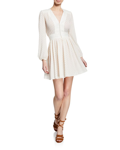 Dot-Print Plisse V-Neck Short Dress