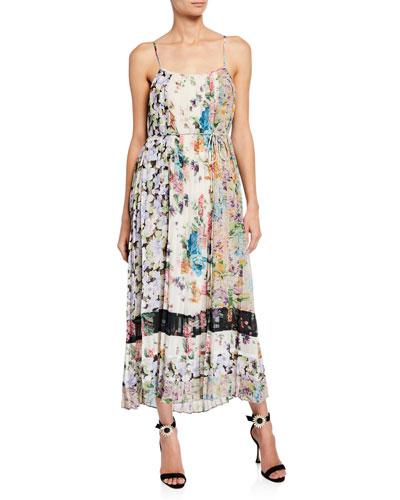 Ninety-Six Pleated Floral-Print Slip Dress
