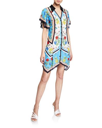 Conner Floral-Print Handkerchief Shirtdress