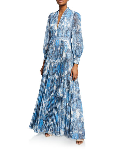 Cheney Slit-Sleeve Pleated Maxi Dress