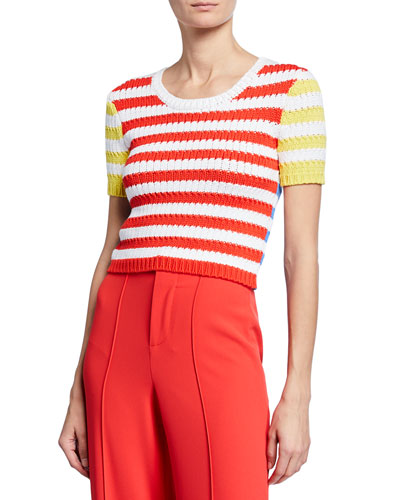 Ciara Striped Short-Sleeve Cropped Cable Sweater