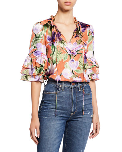 Julius Floral-Print Tiered-Sleeve Ruffle Tunic Top