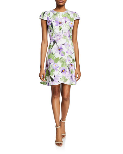 Kirby Faux-Wrap Floral Flounce Dress
