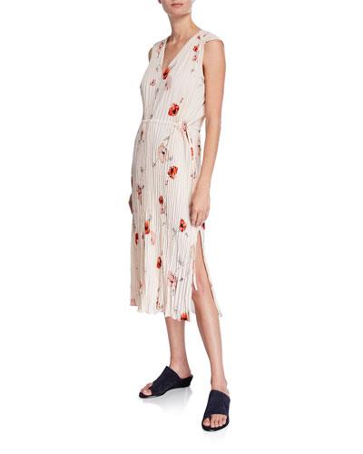 Tossed Poppy V-Neck Pleated Dress