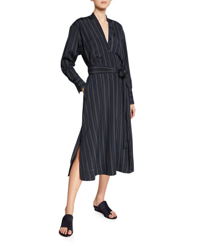 Bold Stripe Belted V-Neck Midi Dress
