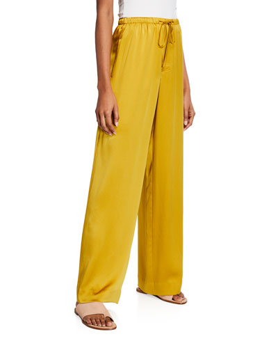 Satin Wide-Leg Pajama Pants