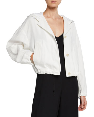Cropped Button-Front Cotton Hooded Jacket
