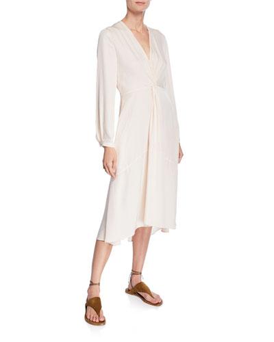 V-Neck Long-Sleeve Twisted Drape Dress