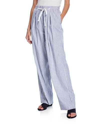 Space-Dye Striped Wide-Leg Drawstring Pants