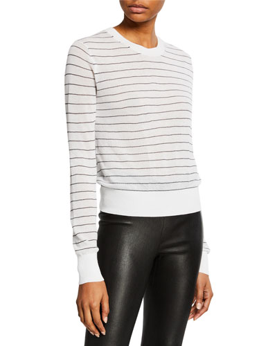 Striped Textured Long-Sleeve Sweater