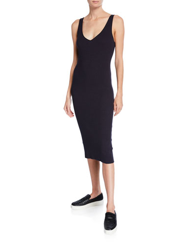Ribbed Double V-Neck Sleeveless Dress