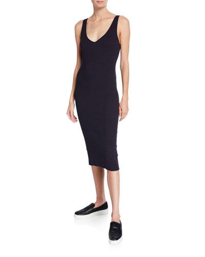 Ribbed Double V-Neck Sleeveless Dress