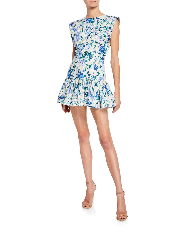 a586785e8757fb Zimmermann Moncur Flounce Linen Evening Mini Dress In Blue Pattern ...