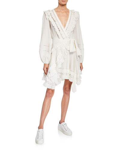 Moncur Frill Wrap Short Dress w/ Lace Trim