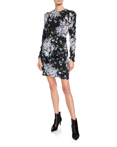 Moncur Draped Floral-Print Short Dress