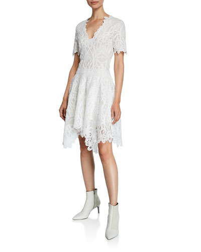 V-Neck Threaded Lace Ruffle Dress