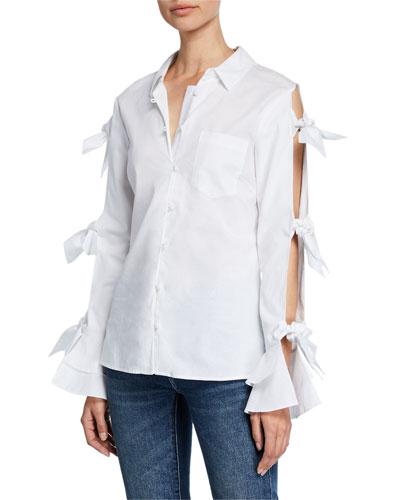 Tie-Sleeve Button-Down Oxford Shirt