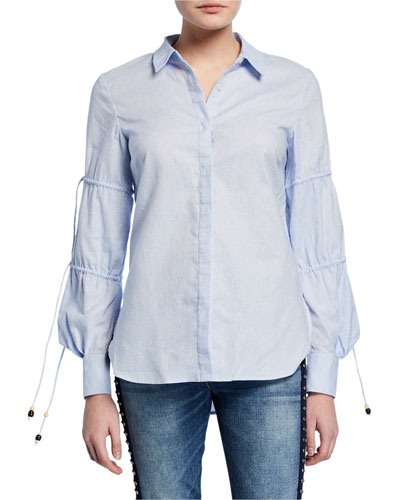 Ruched-Sleeve Striped Cotton Shirt