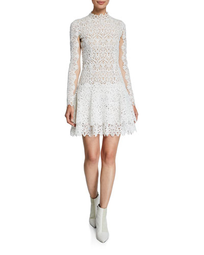 Guipure Lace High-Neck Tiered Short Dress