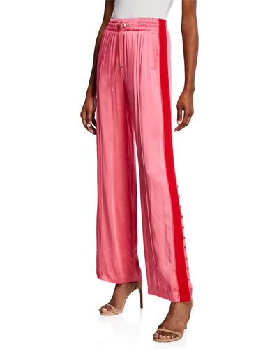Side-Stripe Sateen Combo Track Pants