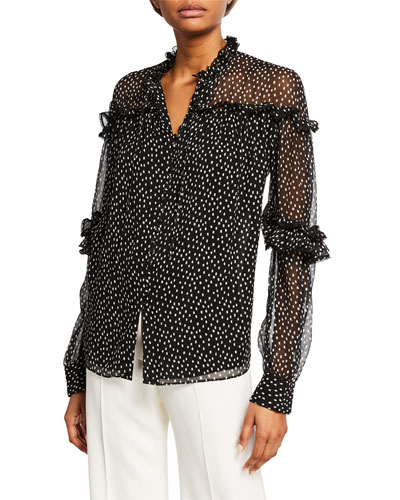 Speckle-Print Long-Sleeve Silk Ruffle Top