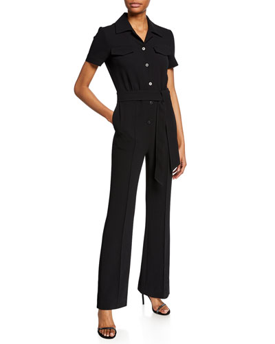 Daisy Button-Front Short-Sleeve Jumpsuit with Belt