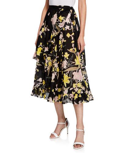Rosalia Floral-Print Wrap Midi Skirt
