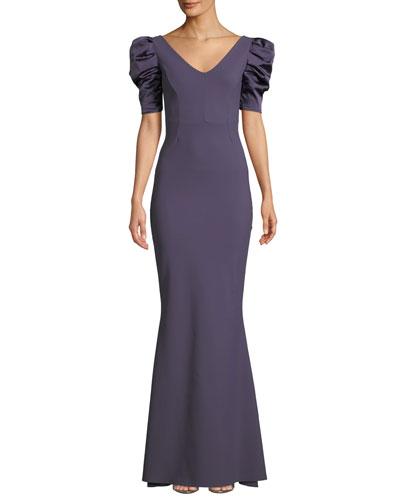 Meve V-Neck Shirred Satin-Sleeve Mermaid Gown
