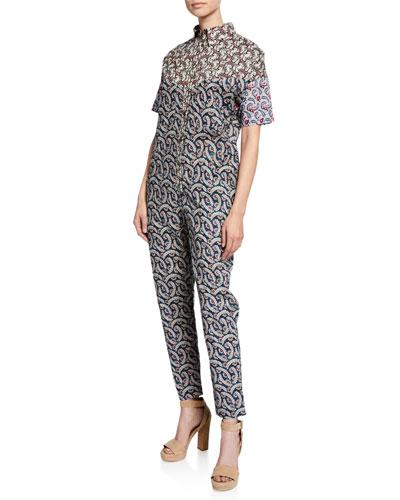 Lindsie Patchwork Print Shirt Top Jumpsuit
