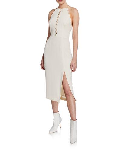 Scalloped Halter Midi Dress