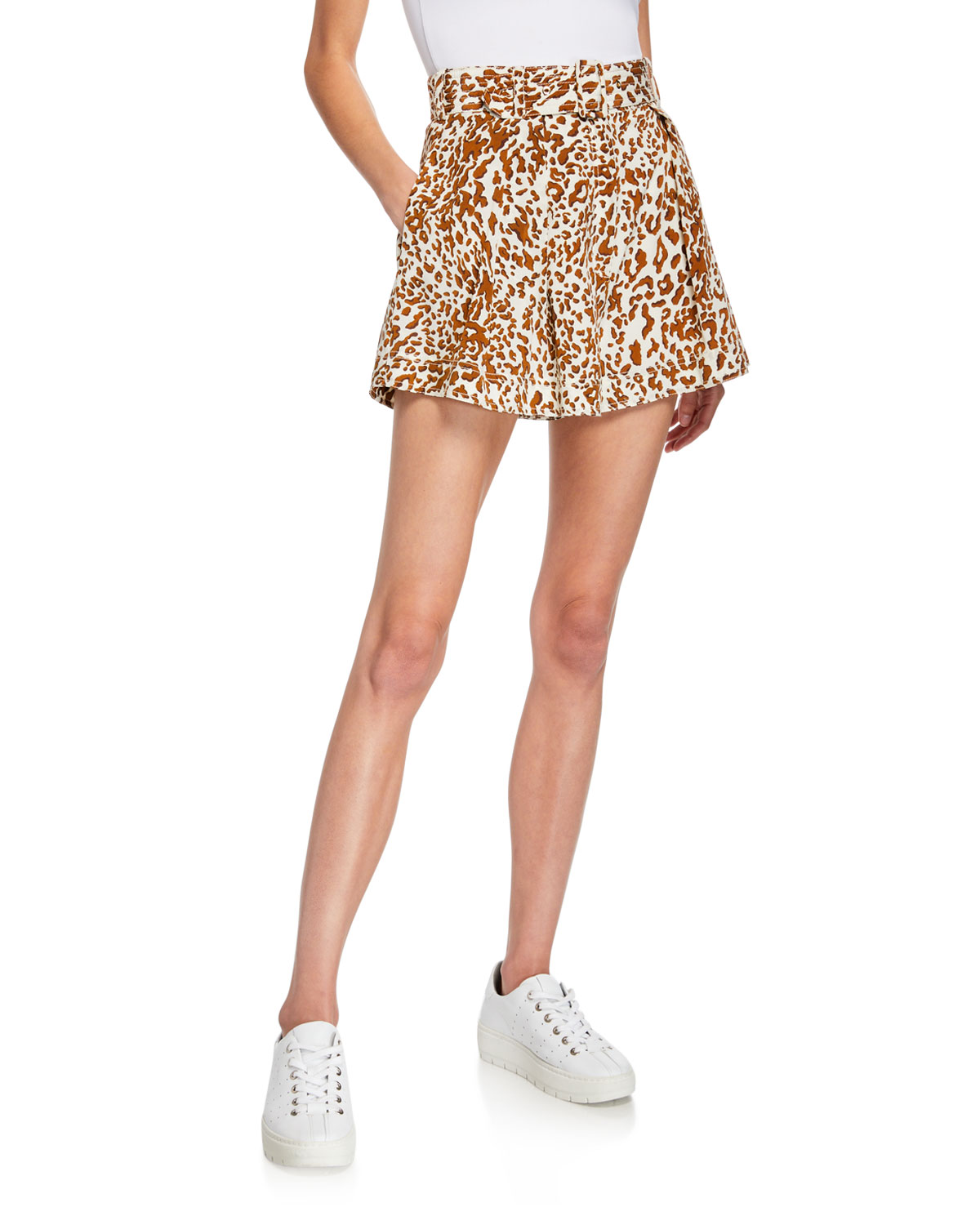 Zimmermann Shorts LEOPARD-PRINT BELTED UTILITY SHORTS