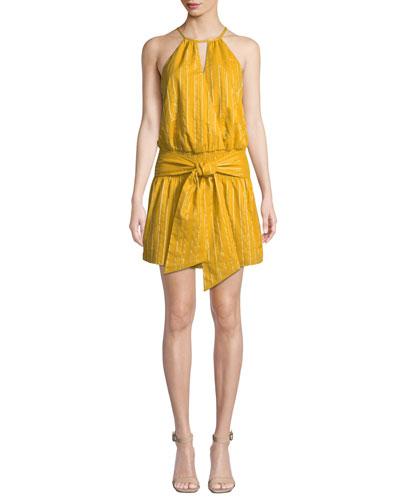 Larissa Striped Halter Mini Dress with Tie-Front Detail