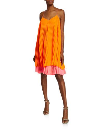 Cally Colorblock Spaghetti-Strap Pleated Dress