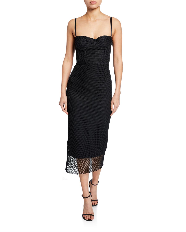 Milly Dresses Sweetheart Mesh Bustier Midi Dress, BLACK