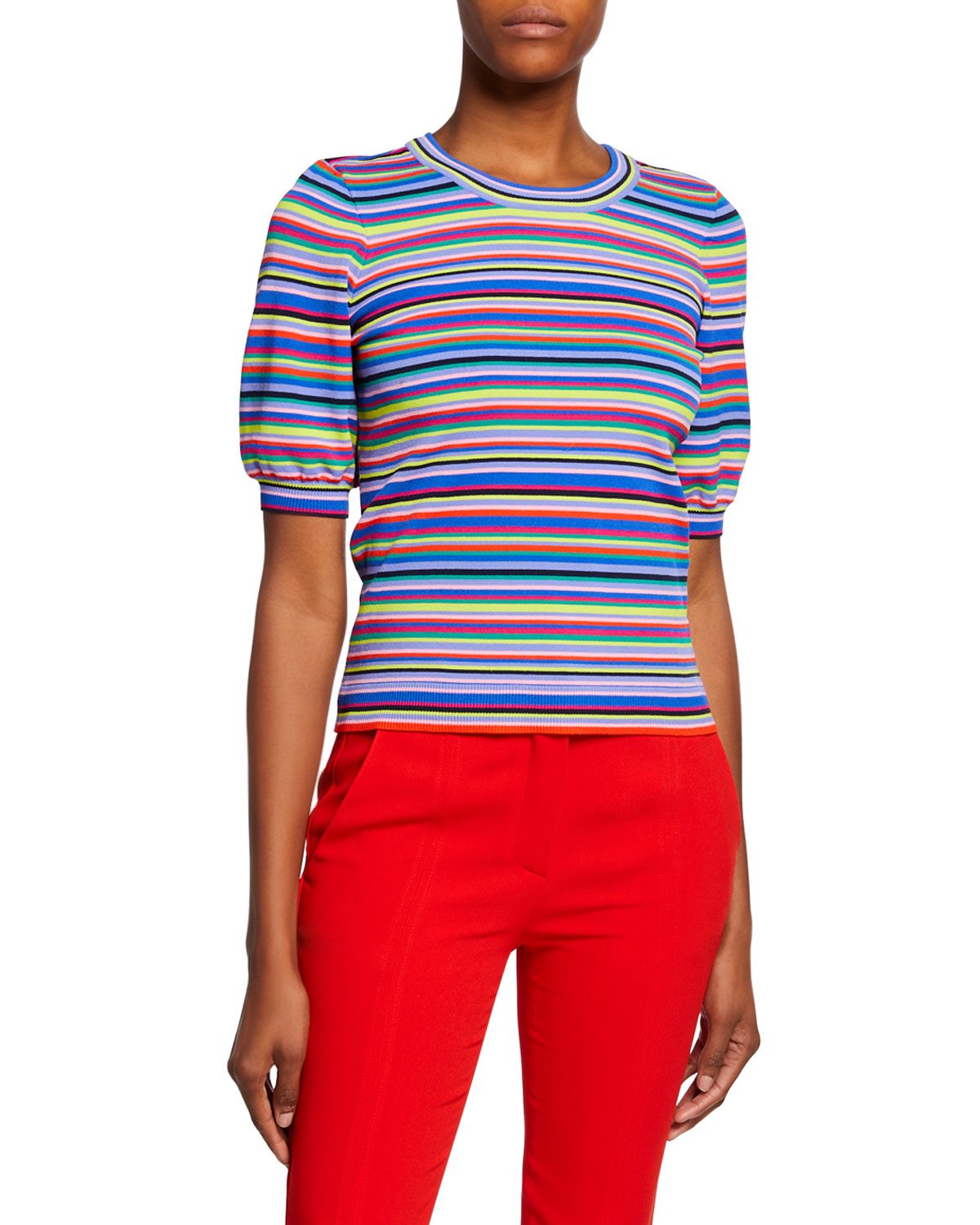 Milly Shorts TWISTED MULTI-STRIPE SHORT-SLEEVE PULLOVER
