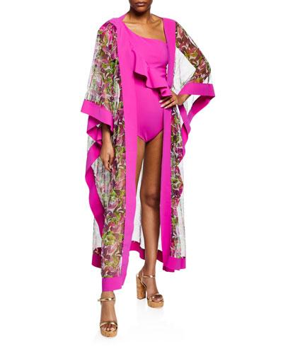 Candela Printed Silk Tulle Kimono