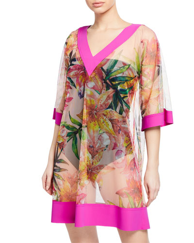 Bryce Sheer Floral-Print Coverup
